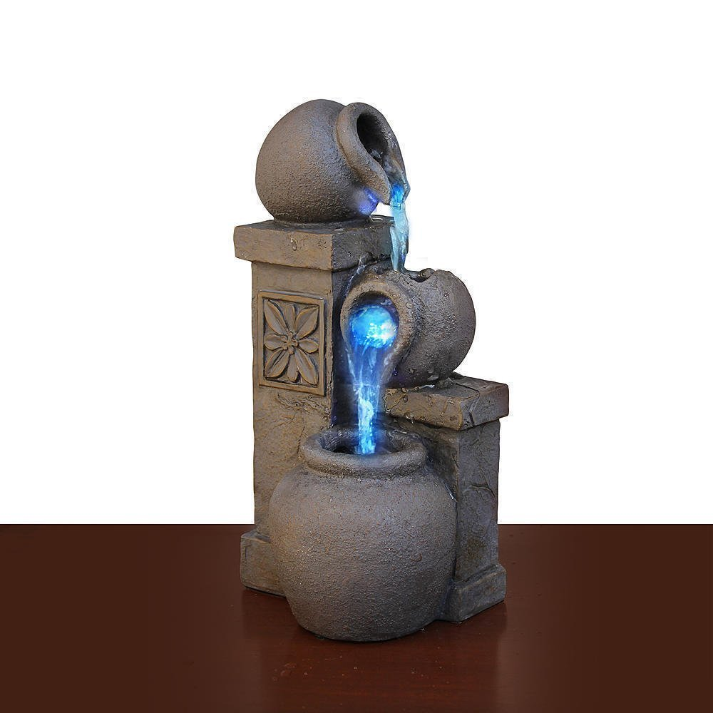 Color Changing LED Fountain Rustic Vase Tabletop Waterfall Desk Flowing Water