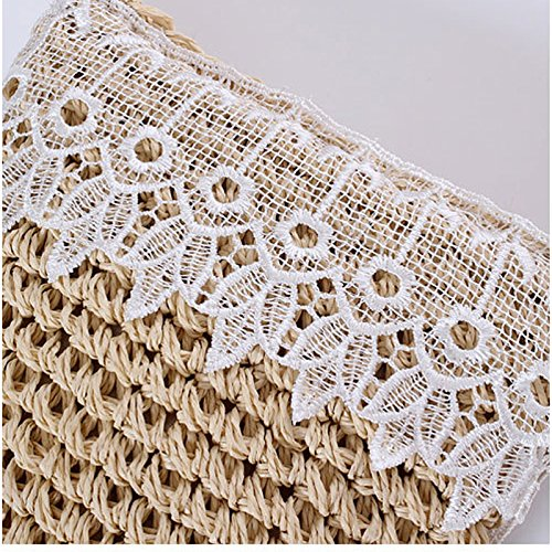 Zipper Body Lace Bag Island Shoulder Mini Donalworld Bag Straw Woven Cross Cute Beach Summer Beige Straw xaP6wYqUg