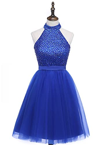 HEIMO 2017 Beading Keyhole Back Homecoming Dresses Halter Beaded Prom Gowns Short H205