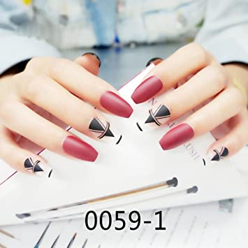 Amazon.com : CoolNail New Ballerina Coffin Nail Tips Red False Nail Full Nails Coffin Shape Matte White with Black Geometric Shapes Fake Nails Tips : Beauty