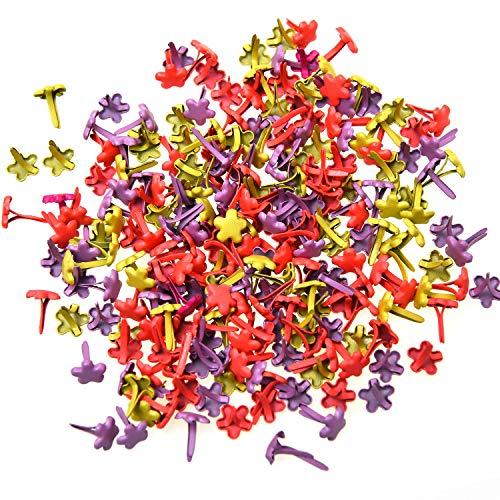 Monrocco 200 Pieces Mini Flower Decorative Brad Fasteners Metal Paper Fasteners DIY Paper Craft Card Making