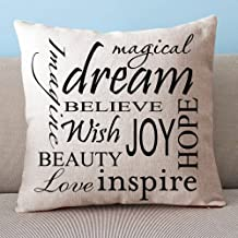 Custom Decorative Inspirational Quotes Cushion Cover 100% cotton blend linen Square pillow case - pillow covers for sofa, Living Room 18x18 Inch