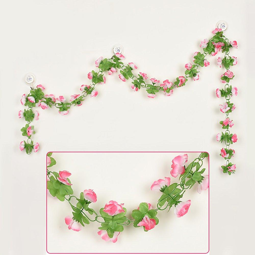 (ニューハイ) New -Hi 環境に優しい60本のイージーフラワー造花 バラの花飾り 美しいフェイクシルクの花のつる ウェディングパーティー ホームデコレーション 193cm New-Hi475348 B07G77T75G Pink Edge