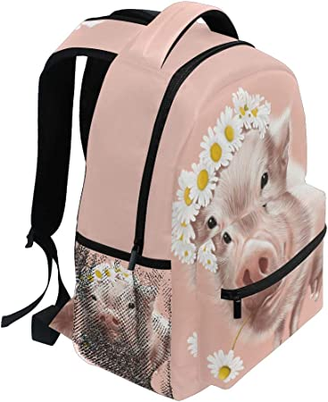 Leather 2019 Happy Pig Pink Backpack Daypack Bag Women