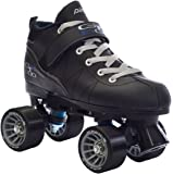 Black Pacer Mach-5 GTX500 Quad Speed Roller Skates w/ 2 Pair of Laces (Gray & Black)