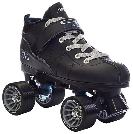 Pacer Black Mach-5 GTX500 Quad Speed Roller Skates w 2 Pair of Laces Gray Black