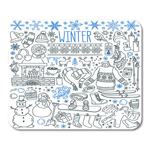 (Boszina Mouse Pads Winter Season Doodle Snowflakes Icicles Classic Ornaments Knitted Wear Sports Freehand Drawings Over Mouse Pad for notebooks,Desktop Computers mats 9.5