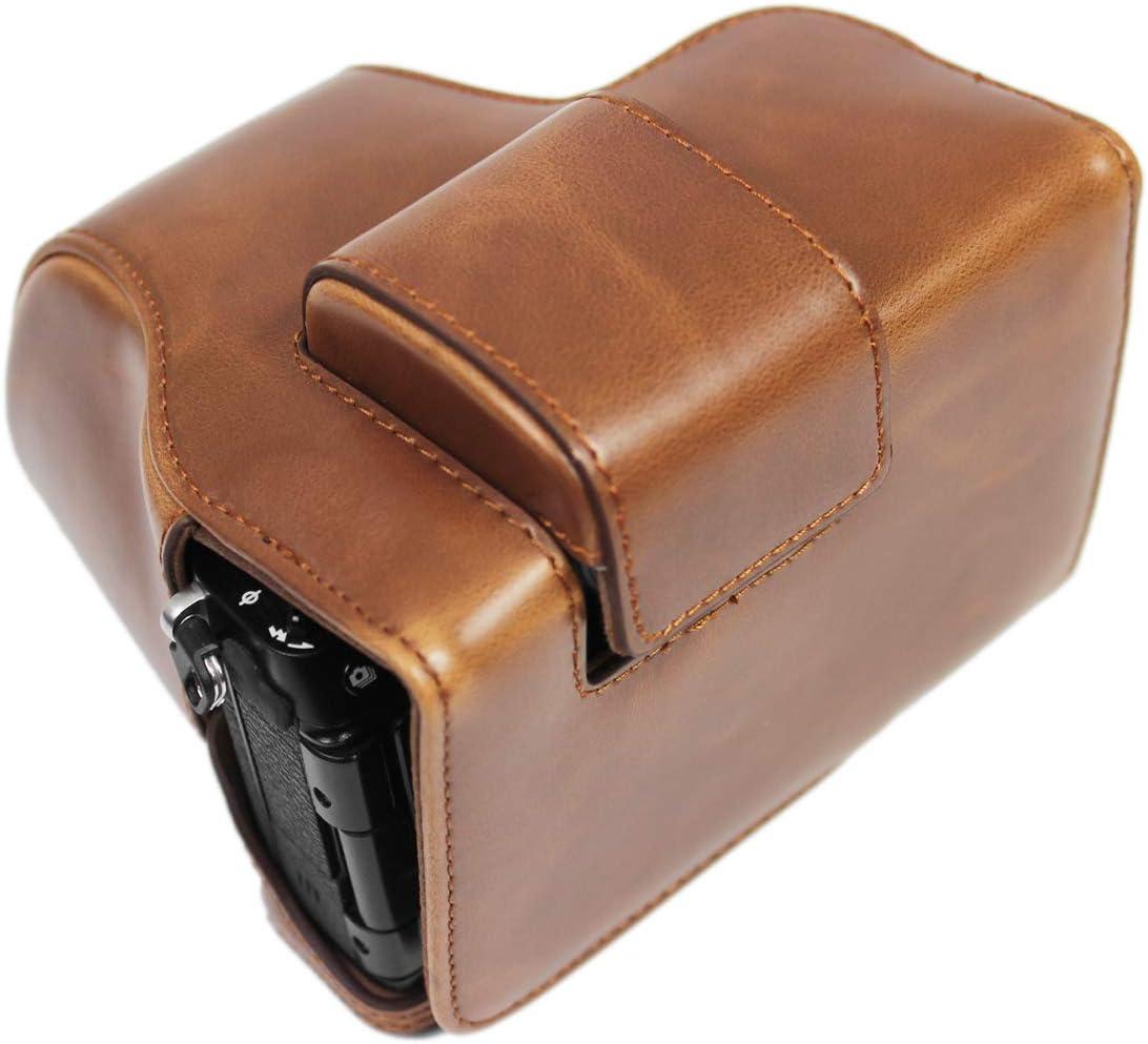 colore: caff/è con custodia per riporre oggetti MUZIRI KINOKOO custodia protettiva completa per Fujifilm X-S10 Custodia in pelle PU per FUJI X-S10 e 15-45 mm