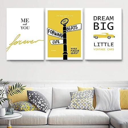 Moderne Jaune Lettres De Rêve Estampes Affiche Toile