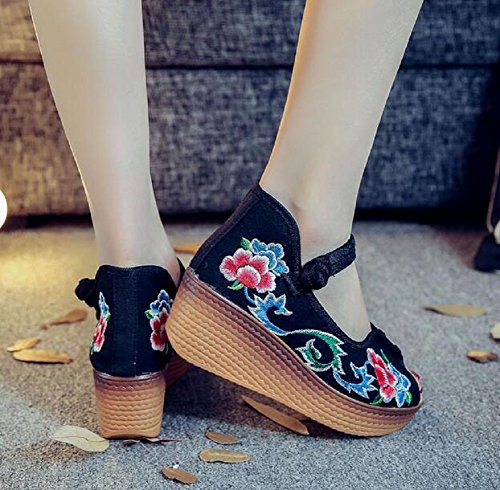Lazutom Women Lady Summer Embroidery Peep-toe Wedge Platform Sandals Black 9GbxJ
