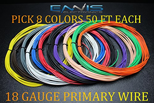8 Awg Primary Wire (18 GAUGE WIRE ENNIS ELECTRONICS PICK 8 COLORS 50 FT AUTOMOTIVE PRIMARY REMOTE HOOK UP AWG COPPER CLAD (PICK 8 ROLLS))