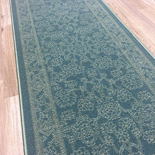Custom Size TEAL-GREEN Egyptian Print Traditional Persian Rubber Backed Non-Slip Hallway Stair Runner Rug Carpet 22 inch Wide Choose Your Length 22in X 7ft