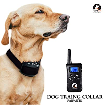 PaiPaitek Rechargeable 500 Yard Remote 1 Dog Blue Screen Waterproof 100 Level Vibrate Shake Pet Dog Training Collar Bark Stop Collar Trainer E-Collar Pet Dog No Bark Collar Bark Stopper PD 520 S
