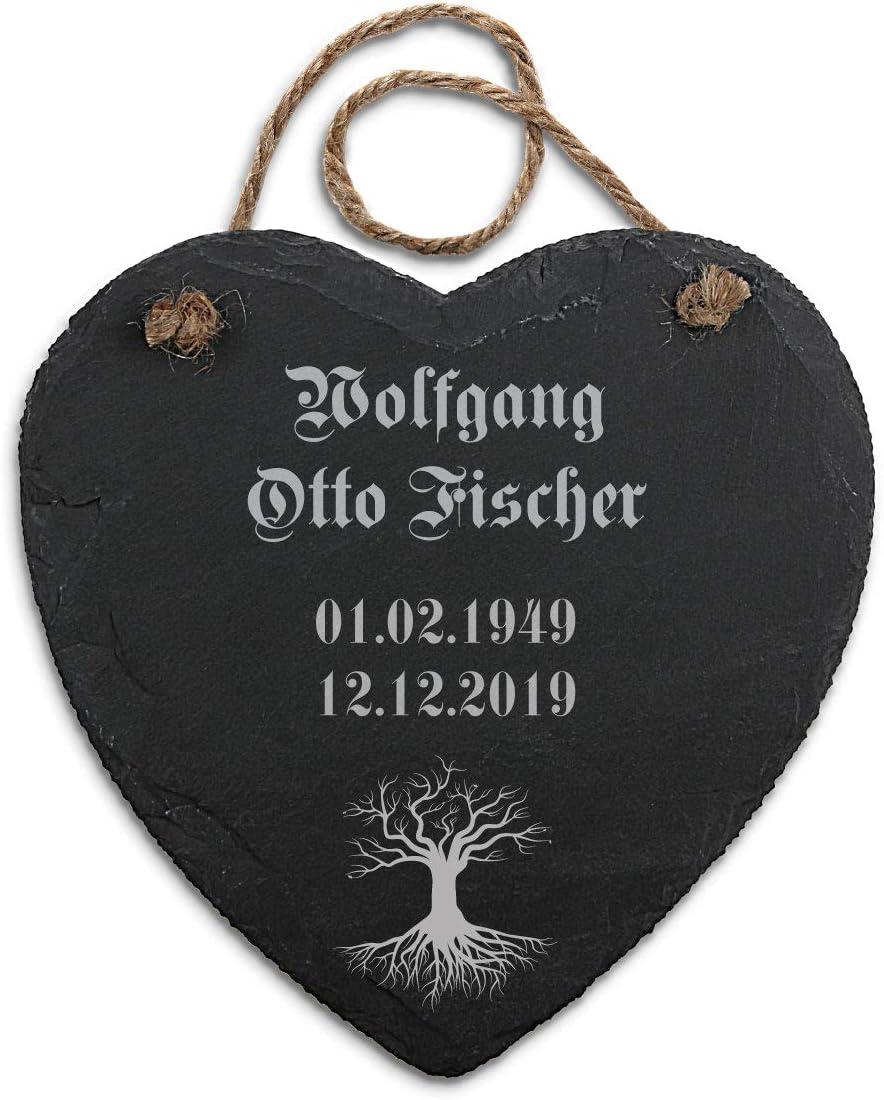 Hanfschnur Individueller Text PauleBlack Gedenktafel mit Gravur f/ür Menschen Schiefer Herz 20 x 20,5 cm inkl