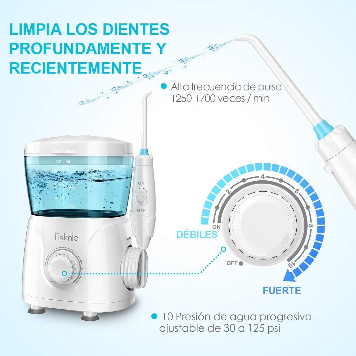 Irrigador Dental Profesional iTeknic de Gran Capacidad Tanque de Agua de 600ml 10 Ajustes de Presión 7 Bolquillas Intercambios IPX4 Impermeable del Agua ...