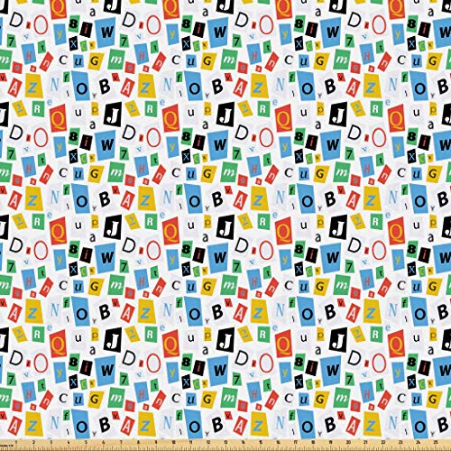 Lunarable Letters Fabric by The Yard, Colorful Alphabet Icons with Different Fonts Fun Typescript ABC Themed Pattern, Microfiber Fabric for Arts and Crafts Textiles & Decor, 1 Yard, ()