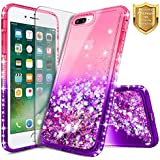 NageBee Quicksand Case Compatible Apple iPhone 6S Plus/iPhone 6 Plus w/[Tempered Glass Screen Protector] Glitter Liquid Waterfall Flowing Shiny Sparkle Bling Diamond Girly Cute Case -Pink/Purple