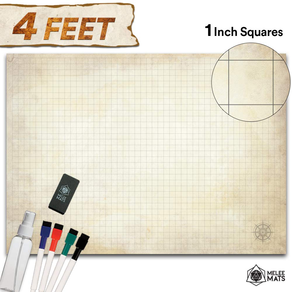 Battle Grid Game Mat - Ultra Durable Polymer Material - Role Playing DND Map - Reusable Tabletop Square Mats - RPG Dungeons and Dragons Dry Erase Vinyl - Large Set for Starters and Masters 34.5x48 by Melee Mats