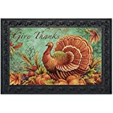 "Give Thanks Turkey Doormat Thanksgiving Indoor Outdoor Holiday 18"" x 30"""
