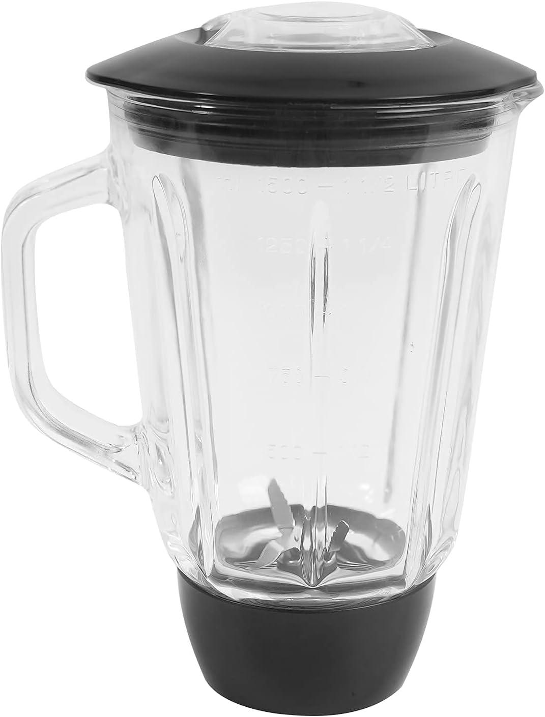 Blender Glass Jar, ACA Sturdy Glass Blender, Blender Pitcher Jar, 6 Bulges on the side, Stand Mixer Blender, 4 Measurements, Blender Attachment, 50.7 OZ, Blender Replacement Jar(Blender Only)