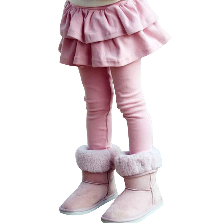 Yasson Girls Thick Ruffle Leggings Culottes Tutu Skirt Skirt-Pants Solid Trousers