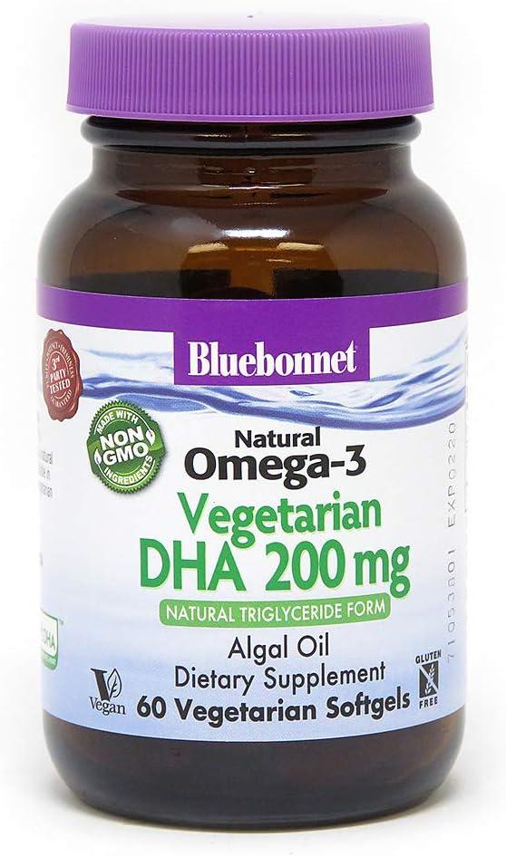 BlueBonnet Natural Omega-3 Vegetarian DHA Vegetarian Softgels, 200 mg, 60 Count ('743715009097)