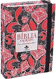 Bíblia Sagrada com caderno para anotações - Capa flores vermelhas: Almeida Revista e Atualizada (ARA) com Font