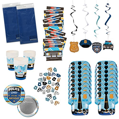 Police Party Supplies Policeman Policewoman Birthday Party Tableware Bundle Set Includes Tablecloths, Plates, Napkins, Cups, plus more for 16 Guests -
