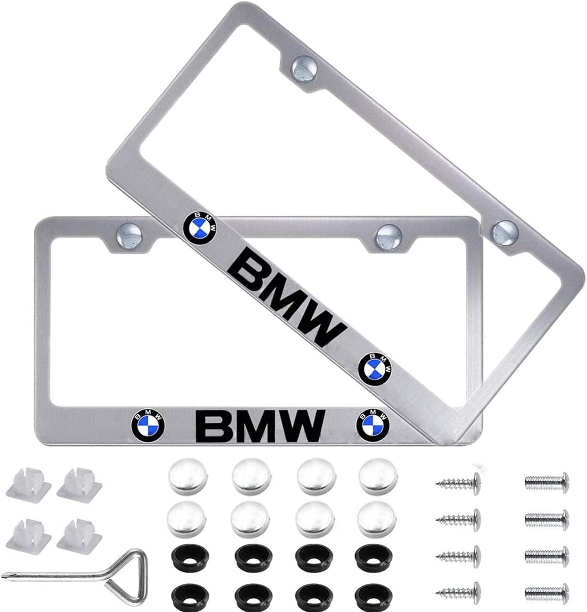 Newest Silver Car Licenses Plate Covers Holders for US CA Vehicles Fit for BMW Masney 2Pcs Car Logo License Plate Frame with Sliver Screw Caps