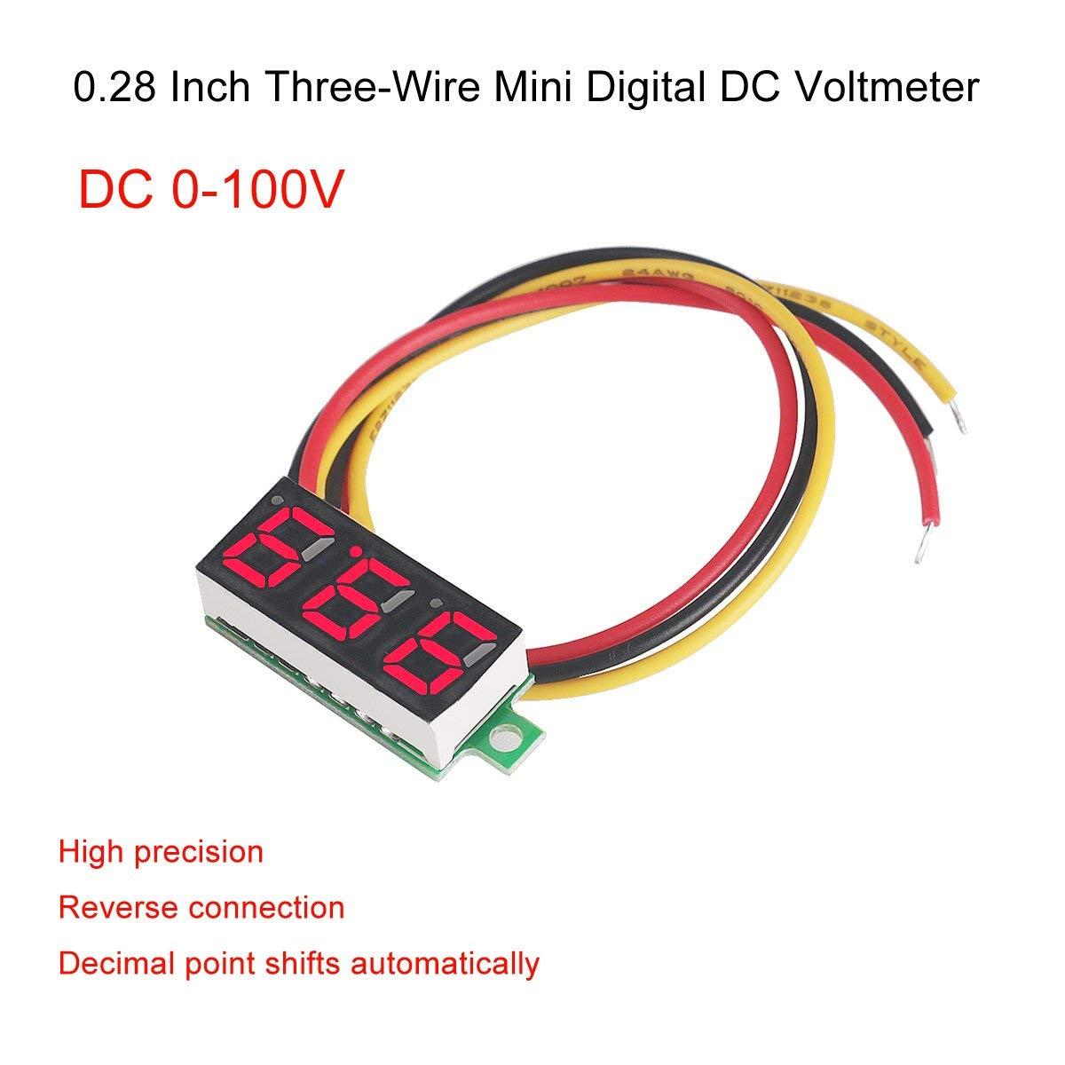 MakerHawk 4pcs Digital DC Voltmeter 0.56 inch Three-Lines 0-100V Digital Voltmeter Gauge Tester LED Display Reverse Polarity Protection and Accurate Pressure Measurement 4 Colours