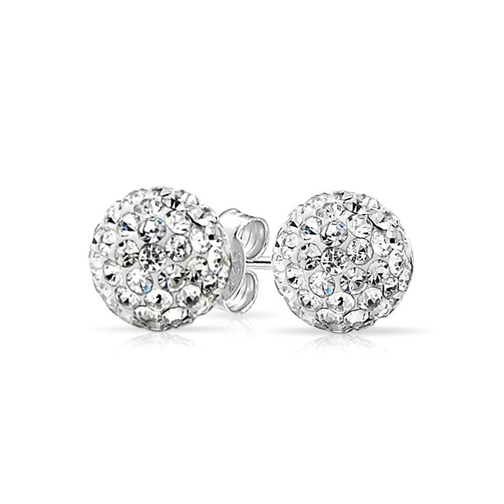 White Crystal Ball Studs Shamball Inspired Silver Plated Brass