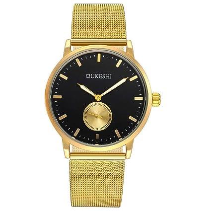 LFDJL Reloj Malla Correa Reloj Slim Moda para Hombre Cuarzo Reloj de Oro Hombres Reloj de