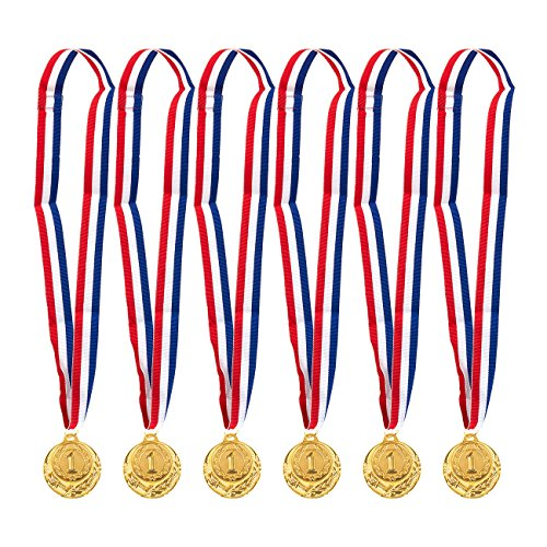 (Juvale 6-Pack Gold Medal Set - Olympic Style Winner Award Medals for Sports, Competitions, Spelling Bees, Party Favors, 2 Inches in Diameter with 31-Inch Ribbon)