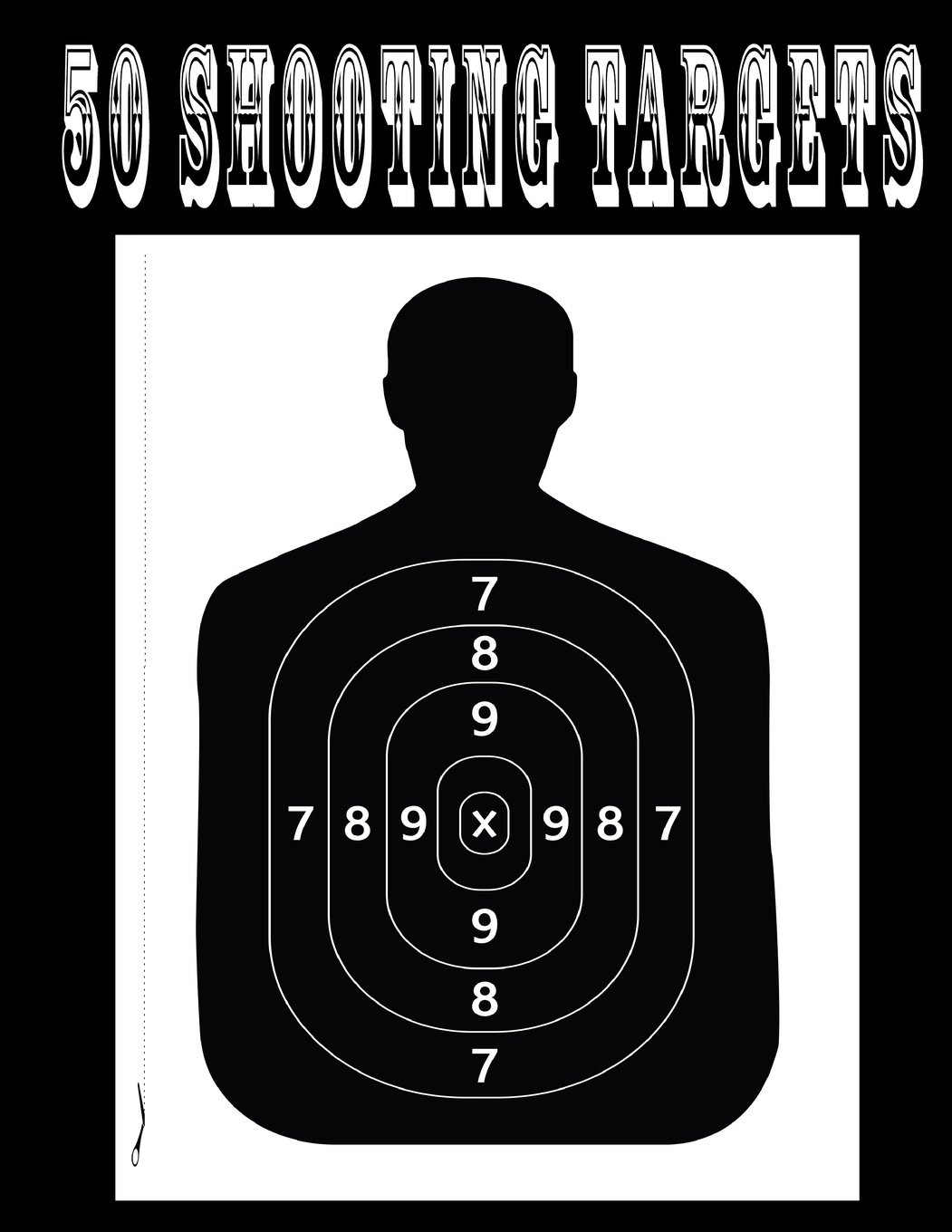 "Download 50 Shooting Targets 8.5"" x 11"" - Silhouette, Target or Bullseye: Great for all Firearms, Rifles, Pistols, AirSoft, BB & Pellet Guns PDF"
