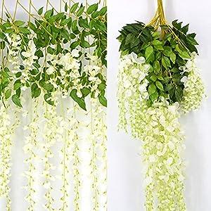 Kuqqi 3.6 Feet Artificial Silk Wisteria Vine Ratta Silk Hanging Flower Wedding Decor,6 Pieces,(White) 5