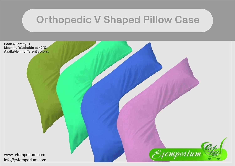 Cream E4emporium Bedding Polycotton Back /& Neck Support V Shaped Orthopedic//Pregnency//Nursing Pillow Case
