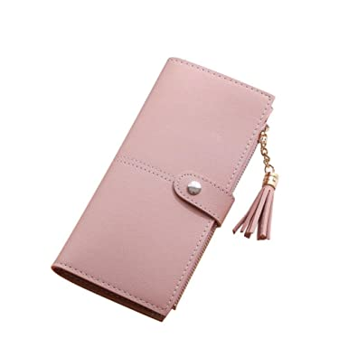 SMARTLADY Mujer Cartera borla Larga Monedero Billetera de ...