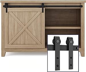 """SMARTSTANDARD 4FT Super Mini Cabinet Sliding Barn Door Hardware Kit -Smoothly and Quietly -for TV Stand, Closet, Window -Fit 24"""" Wide Door Panel -J Shape Hanger (NO Cabinet)"""