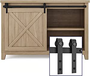 "SMARTSTANDARD 4ft Cabinet Barn Door Hardware Kit - Super Mini Sliding Door Hardware - for Cabinet TV Stand Console - Simple and Easy to Install - Fit 24"" Wide Door Panel (NO Cabinet) (J Shape Hanger)"