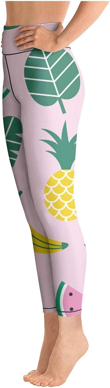 Medssii Womens Yoga Pants Pink Flamingo Summer Fruits High Waist Yoga Leggings with Pockets