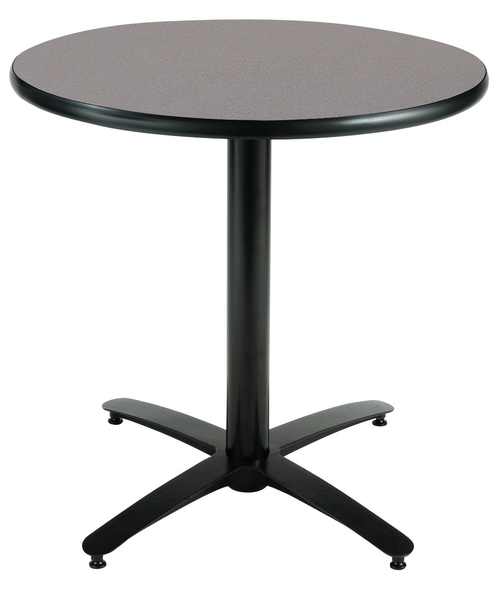 KFI Seating Round Pedestal Table with Arched X Base, Commercial Grade, 42-Inch, Graphite Nebula Laminate, Made in the USA