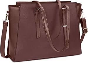 Laptop Bag for Women 15.6 Inch Waterproof Laptop Tote Bag Large Leather Computer Briefcase Womens Business Professional Office Work Bag Lightweight Shoulder Handbag,Coffee