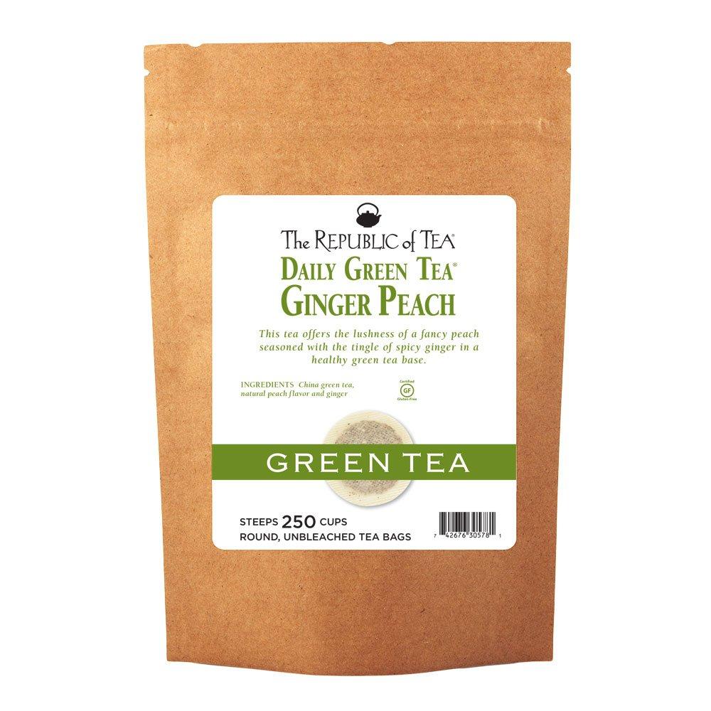 The Republic Of Tea Ginger Peach Green Tea, 250 Tea Bags, Ripe Peach Spicy Ginger Gourmet Green Tea