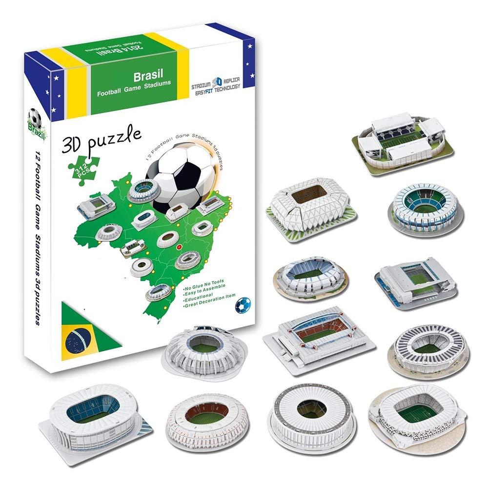 EP-model Sports Stadium Modello 3D, Mini Brasile World Cup Full Stadium Modello Fans Souvenir Puzzle Fai da Te, 12 Pezzi