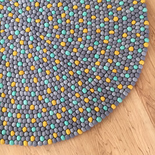 Felt ball rug - Yellow Mint gray nursery carpet bedroom decor - Pom pom rug for living room area rug - Baby rug playroom mat - Children's kids floor rugs ()
