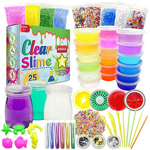Clear Slime 58Pc Crystal Slime Kit for DIY Crystal Slime Set | 25 Colors Slime, 6 Pack Foam Beads, 4 Scented Fruit & 3 Jars | Complete Supplies & Glitter Accessories for Boys & Girls by Clear Slime (Image #9)