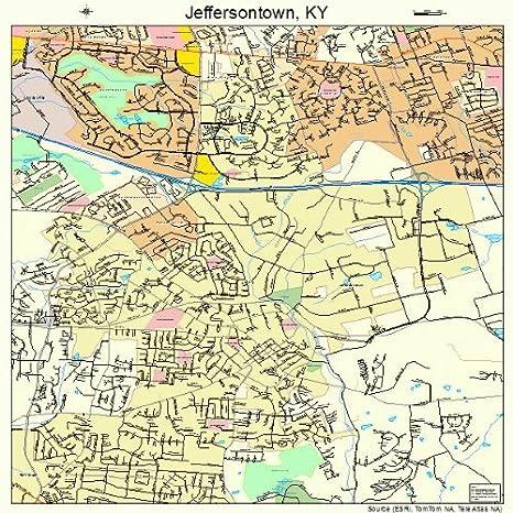 Amazon.com: Large Street & Road Map of Jeffersontown, Kentucky KY ...