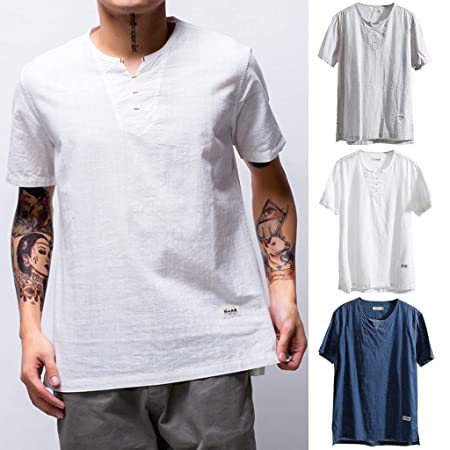 Karinao Herren Rundhals Vintage T-Shirt Kurzarm Slim Fit Design Casual Top Shirt XL,Dunkelblau