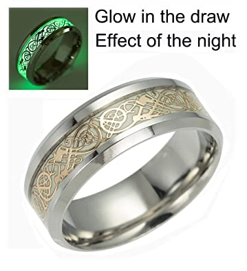 Celtic Dragon Rings For Men Women Stainless Steel Luminous Glow Wedding Band Silver Golden Jewelry