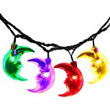 LuckLED 20ft 30 LED Moon Solar String Christmas Lights with Sensor (Multi-Color)